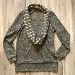 The Limited Gray Stripe Scarf Sweater